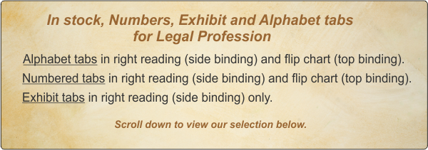 Index Tabs, Chart Dividers, Legal and Letter Size, Custom